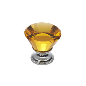 Crystal Cabinet Knob With Brass Base