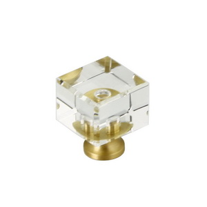 Glass Cube Cabinet Knob With Brass Base