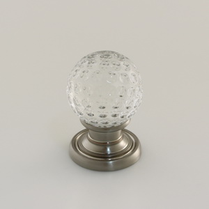 Glass Cabinet Knob With Brass Base