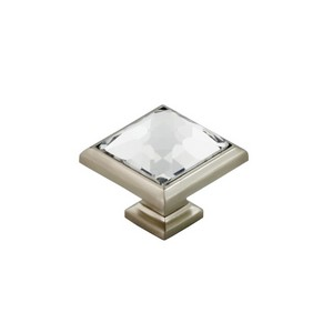 Glass Square Knob With Zinc Die Cast Base