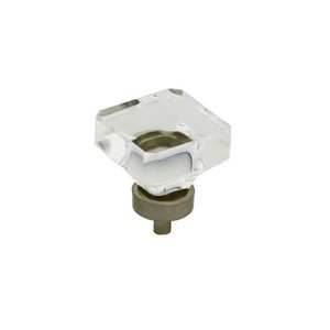 Glass Square Cabinet Knob With Zinc Die Cast Base