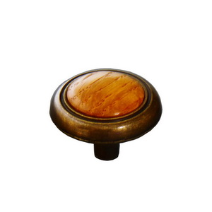 Wood Cabinet Knob  With Die Cast Base